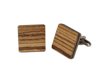 Wooden Cufflinks Zebrawood