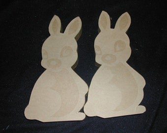"Pr Bown Craft Paper Mach Easter Bunny Figures To Paint Free Standing Die Cut Details 11"" High Crafts Embellish Supplies Decorate"