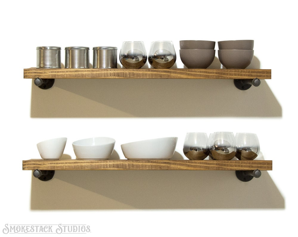 Set of 2 industrial floating shelves open kitchen shelves for Kitchen set industrial