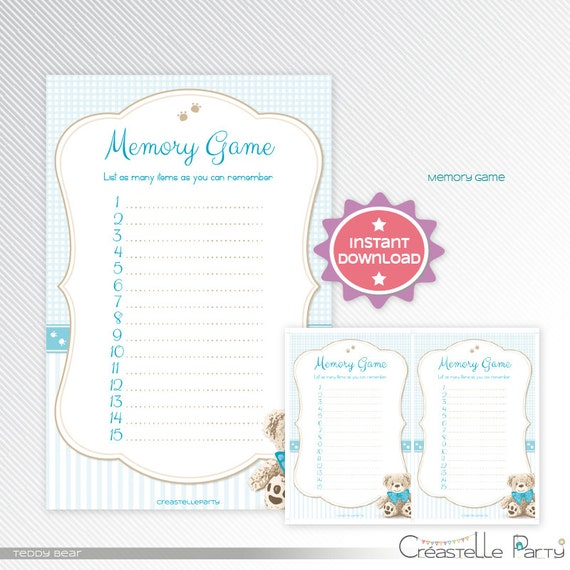 blue teddy bear memory game baby shower printable game instant