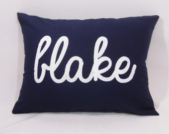 Custom made personalized name navy blue cotton fabric white (or custom color) pillow cover/sham. Multiple sizes/custom color options