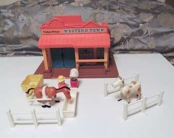 Vintage Fisher Price Little People Western Town  #934 1982 w Accessories