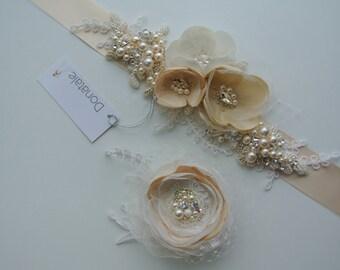 bridal hair flower, Bridal hair piece, Bridal headpiece,Bridal hair accessories Rustic Champagne Accessories Bridal belt, Bridal sash-VIOLET