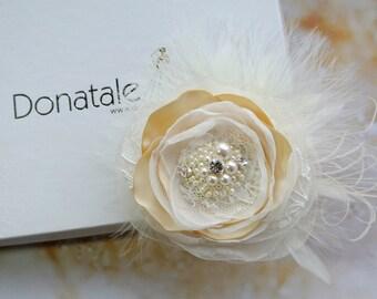 Wedding Hair Piece,  Rustic , Wedding Hair clip ,  Bridal Headpiece, Ivory  Fascinator  Bridal Hair Accessories Champagne Blush - FEDERICA