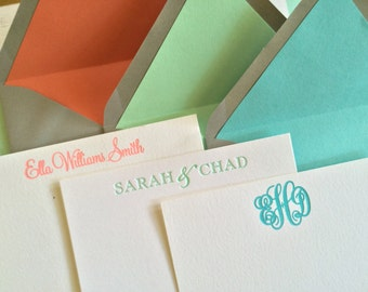 Personalized Letterpress Stationery with Solid Liner-Gray Envelopes