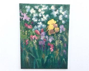 Original Texas Artist Bunny Oliver Canvas Painting, Signed, Impressionist Floral Canvas