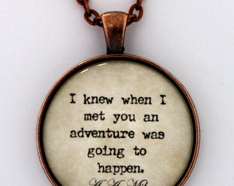I Knew When I Met You An Adventure Was Going To Happen Winnie The Pooh A.A. Milne Quote Pendant Necklace