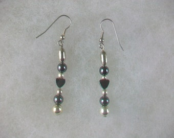 Handcrafted Hematite Heart Shaped And Silver Beads Handmade Earrings