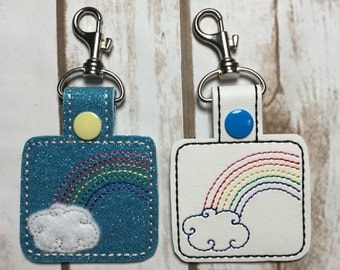 Rainbow key chain - zipper pull - bag tag - snap tab