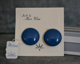 Vintage 1960s Jewels by Albert Weiss - NEVER even removed from card - Price tag & box/packaging in perfect condition - Clip on - Navy blue