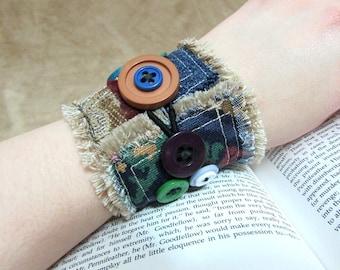 "Hippie Cuff Bracelet, Rainbow Buttons, Boho Denim Cuff, Bohemian Chic Textile Fringe Bracelet, Gypsy Jewelry ""Steam-Goth & Punk-torian #11"""