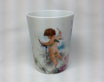 Vintage Century Old Painted Cherub Cup Mug Dated 1902 Signed Edna L.S.M. Pink Rose Flower Vine Angel Wings Choir Conductor Music Book