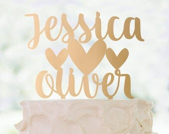 Gold or Glitter Custom Names with hearts cake topper