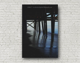 Ocean Pier Photo, California Beach Photo, San Clemente Pier, T-Street Beach, Pacific Ocean, Orange County Beach, Light & Shadows, Photo Art