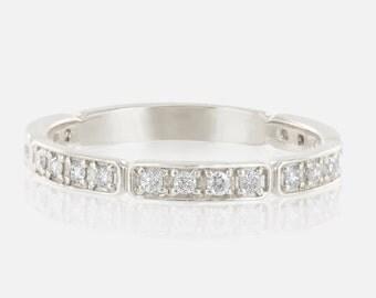 Platinum diamond wedding band women, 3/4 diamond eternity band, eternity ring, 2.3mm band for women, solid PT950, pave diamond ring, w-r102