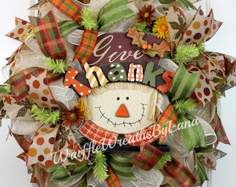 Fall Scarecrow Wreath, Fall Wreath, Deco Mesh Wreath, Scarecrow Wreath, Thanksgiving Wreath