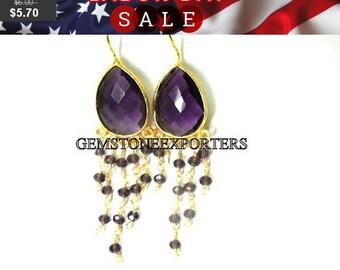 September SALE === Amethyst Quartz Gold Plated Dangle Earring- Per Pair