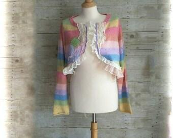 Shabby Chic Cottage Lace stripe open Cardigan vest Jacket Shrug Sweater Top Embellished crochet ruffle trim upcycled L XL