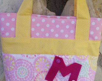 Little girl's scripture bag, little girl's tote bag, little girl's purse. Personalized pink, and yellow print, scripture bag, small tote.