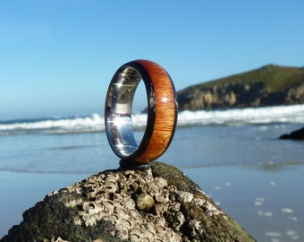 mopane wood,carbon and stainless steel ring