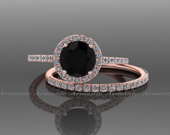 Black Diamond Engagement Set, 14k Rose Gold White Sapphire And Black Diamond Wedding Set Re00074rbk