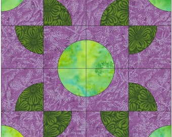 Around the World / Drunkard's Path Block Paper Templates Quilting Block Pattern PDF