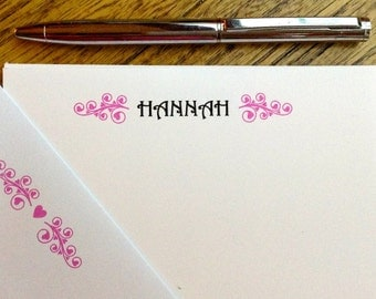 Personalized stationary, kids stationary, note cards, girls stationary, gifts for girls
