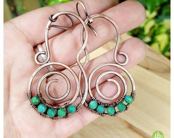 Genuine turquoise boho earrings, big spiral earrings,  wire wrapped earring turquoise,  copper wire earrings, wire tribal earrings hippie