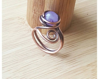 Wire wrapped ring - amethyst ring - copper wire ring - wire amethyst ring - amethyst jewelry - birthstone ring - gemstone ring- copper ring