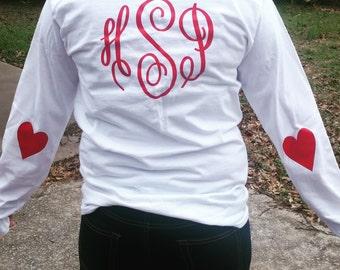 Long Sleeve Monogram Heart Elbow Patch Shirt. Valentines Day Shirt. Glitter Shirt. Valentines 2016. Heart Shirt.  Woman's Shirt. Custom.