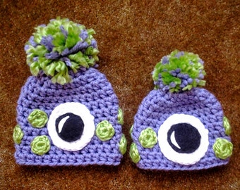 Monster Baby Hat / Crocheted One-Eyed Hat / Halloween Hat