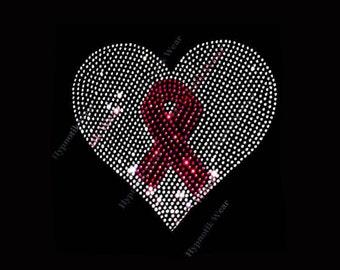 "Rhinestone Transfer "" Cancer Awareness Heart w/ Ribbon "" Choose your Ribbon Color"