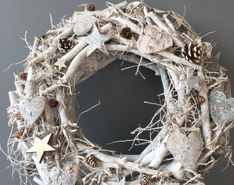 Christmas wreath, door decor, xmas wreath, christmas decoration, Winter white twig wreath with hearts stars and cones, star wreath, modern