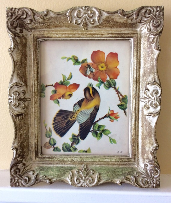 Sale vintage ornate framed bird picture hollywood regency for Hollywood regency wall decor
