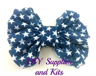"4.5"" Navy white star bow - Fabric bow - 4th of July bow"