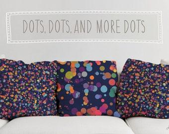 Dots, Dots and More Dots Printed Throw Pillow. Cushion Cover, Sofa Cushion, Polka Dot Throw Pillow, Colorful Throw Pillow, Blue Throw Pillow