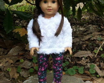 18 inch doll white fuzzy sweater