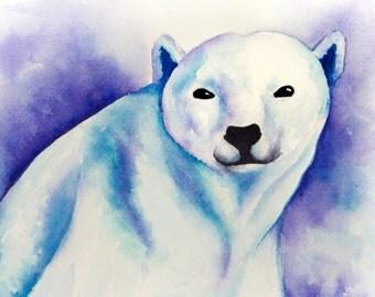 "FINE ART PRINT 8x10"" Polar Bear Watercolor Painting"