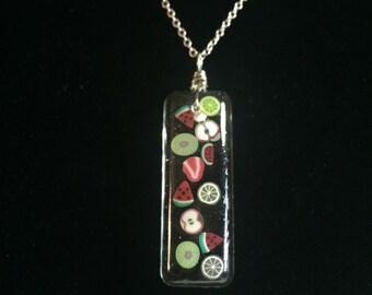 Fruit necklace, sliced fruit necklace, resin necklace, resin jewelry, fruit pendant, fruit jewelry, food jewelry