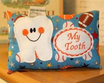 Tooth Fairy Pillow-Boys Tooth Fairy Pillow-Personalized Tooth Fairy Pillow-Tooth-Riley Blake-Tooth Fairy Pillow boy-Sports-Football-Baseball