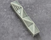 "Modern mezuzah case, Geometric Judaica for new home, Jewish wedding gift,Passover gift, Grey ceramic               fits a 2.7"" scroll"