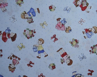 """Fat Quarter of 2016 Lecien Old New 30's Collection Spring Kids on Blue Background. Approx. 18"""" x 22"""" Made in Japan"""