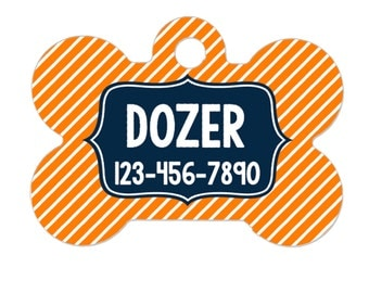 Personalized Dog Name Tag - Dog ID Tag - Boy Dog Custom Dog Collar Tag - Dog Tag Stripe Navy Orange