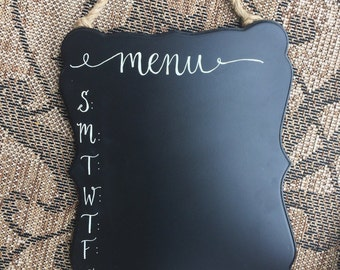 Chalkboard Menu Board / Calligraphy Kitchen Sign / Weekly Menu / Kitchen Decor / Meal Planning / Meal Prep