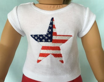 Patriotic Star T-Shirt for American Girl/18 Inch Doll