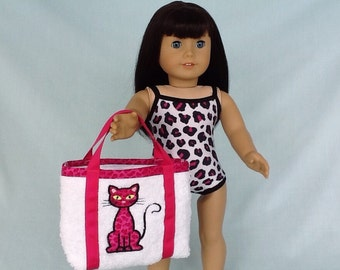 Pink Leopard Bathing Suit and Beach Bag for American Girl/18 Inch Doll