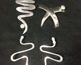 Mexican Sterling Silver Earrings and Two Pins
