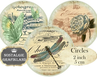 Circles 2 inch French Photography Vintage Instant Download digital collage sheet C199 Ephemera