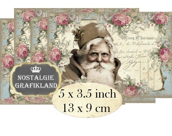 Santa Claus Shabby Chic Christmas Pere Noel 5 x 3.5 inch Instant Download digital collage sheet P148