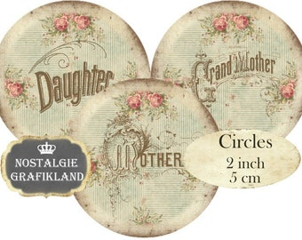Family Words Circles 2 inch Mother Grandmother Instant Download digital collage sheet vintage C296